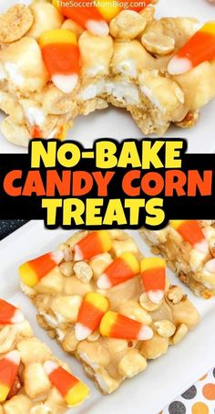 These Crunchy Candy Corn Marshmallow Treats are packed with pure awesomeness!! Peanuts, peanut butter marshmallows, and of course, candy corn — these easy candy corn candy bars are a unique Halloween dessert! Make these delicious candy corn marshmallow treats this holiday! #halloween #holiday #marshmallow #desserts #recipes