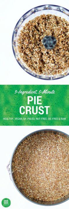 3-Ingredient, 5-Minute, Nut-Free Pie Crust - healthy, vegan, raw, paleo, glutenfree, and oilfree