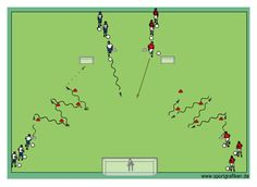 The purpose of soccer shooting exercises like this one is to work on scoring goals, shooting, goalkeeping, and winning 50-50 balls.