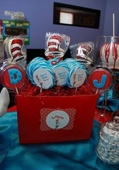 Everything about the cat in the hat party on this website is perfect! Love the centerpieces, candy bar, candy apples, everything! 1st Birthday Boy Themes, Dr Seuss Birthday Party, Boy First Birthday, 4th Birthday Parties, Birthday Stuff, Birthday Ideas, Birthday Bash, Birthday Celebration, Peach Baby Shower