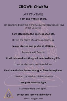 Positive Affirmations for Crown Chakra Healing