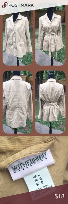 Before, During & After Motherhood Khaki Blazer This khaki blazer by Motherhood is designed to grow with you. Use with the belt to adjust the size or wear without.  Like new condition. Motherhood Jackets & Coats Blazers