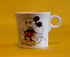 Very Rare White Fiesta® Disney Mickey Mouse Mug made by Homer Laughlin China Company