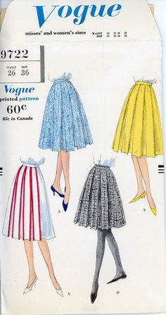 1950s Box Pleat Skirt Pattern Vogue 9722 Waist 26 by CynicalGirl