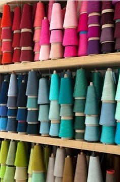 My mother had a whole wall of these, wish I had played with it then. Wall full of color spools.