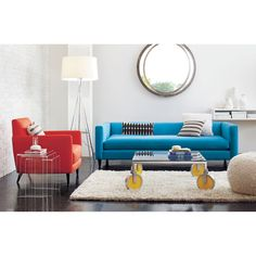 love this blue low profile couch