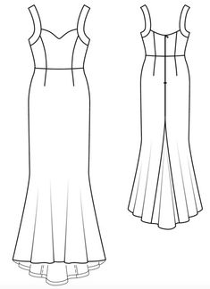 Burda - Trumpet gown with sweetheart neckline and wide straps. + lining Fashion Drawing Dresses, Trumpet Gown, Gown Pattern, Easy Sewing Patterns, Technical Drawing, Needle And Thread, Pattern Making, Sewing Crafts, Sketches