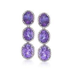 11.00 ct. t.w. Oval Amethyst and .10 ct. t.w. Diamond Drop Earrings in Sterling Silver  | #791994 @ ross-simons.com