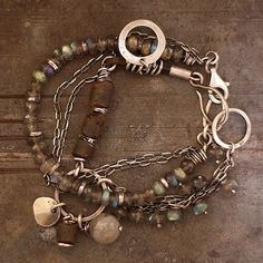 Duo Two bracelets with labradorite and Baltic amber by ewalompe