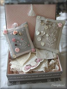 Lovely cross stitch pin cushions in pretty sewing box and lace wrapped around a pretty printed lace/thread holder. I have some pretty ones pinned on this board for you. Cross Stitching, Cross Stitch Embroidery, Cross Stitch Patterns, Lavender Bags, Lavender Sachets, Fabric Crafts, Sewing Crafts, Sewing Projects, Cross Stitch Finishing