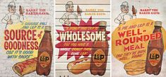L&P - Advertising posters, graphic design, signage, sign writing, painted, typography, wood texture, illustration.