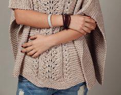mano de punto de algodón de la mujer Poncho / capelet suéter de trigo - listo para enviar