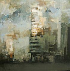 Ricardo Galan Urrejola Urban Painting, Painting & Drawing, Cityscape Art, Encaustic Art, City Art, Urban Art, Landscape Art, Painting Inspiration, Figurative Art
