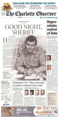 Charlotte Observer (with Andy Griffith lead): July 4, 2012