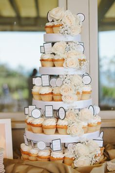 Peach and Cream Cupcake Wedding Cake | photography by http://rebeccaarthurs.com/