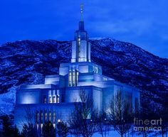 LDS Temple Flowers | Draper Mormon Lds Temple Winter Dusk Photograph