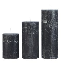 Cozy Living Rustic Candles Anthracite Black Small Medium Large - Trouva