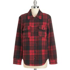 ModCloth Menswear Inspired Long Sleeve My Own Quiet Domicile Top ($22) ❤ liked on Polyvore featuring tops, shirts, shirts / blouses, apparel, red, woven top, long-sleeve shirt, red long sleeve top, red long sleeve shirt and long sleeve plaid shirt