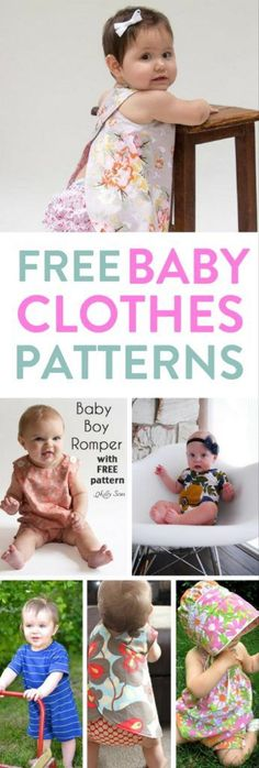 FREE baby clothes patterns (Sewing) Here is my list of the best FREE sewing patterns for baby clothes. SIMPLE to use FREE baby clothes patterns. Plus FREE learn to sew video tutorial Sewing Baby Clothes, Baby Clothes Patterns, Crochet Baby Clothes, Baby Patterns, Diy Clothes, Knitting Patterns, Crochet Patterns, Crochet Ideas, Crochet Dresses
