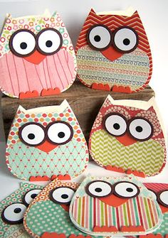 these owls are made with dies from clear and simple stamps, but these can be made with a silhouette machine and punches (for the eyes + beak)
