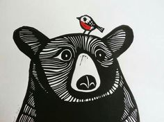 Bear and Robin, Original Linocut Print, Signed Limited Edition of Free Postage in UK, Hand Pulled, Printmaking - This Bear and Robin is an original linocut print (NOT a digitally reproduced print). Linocut Prints, Art Prints, Block Prints, Art D'ours, Illustration Art, Illustrations, Linoprint, Guache, Bear Art