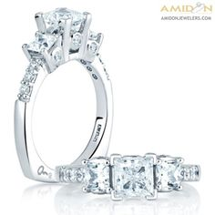A. Jaffe 18kt White Gold Square Cut Three Stone Semi-Mount Bezel Set Ring. Round Diamonds .75ctw Set Along The Ring. Signature Euro-Shank mes126/70. Featured Diamonds have at least G/H color and VS clarity. Amidon Jewelers. *This ring is made to order Please allow 3 weeks for creation and delivery on sized ring orders.