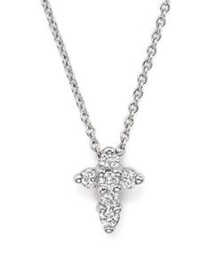 """Roberto Coin 18K White Gold Small Cross Pendant Necklace with Diamonds, 16"""" 