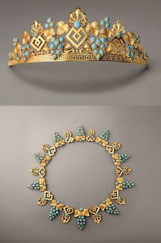 awesome This gold and turquoise tiara and necklace, c.1825, illustrates the stylistic tr...