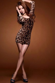 03a9faf873 Hot Sexy Women Mini Leopard Dress Long Sleeve Open Back Bodycon Clubwear  One-piece Tops Brown one size Online Shopping