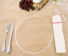 Cherry wedding. Using white chalk and butchers paper to mark places.