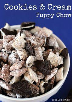 Cookies and Cream Muddy Buddies: Creamy-- Rice Chex + white choco chips + Oreos + powdered sugar  Cookies-- Rice Chex + chocolate chips + Oreos + powdered sugar