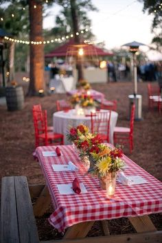 Love this checkered tablecloth, picnic table, backyard bbq rehearsal dinner style! Wedding Reception Themes, Wedding Table, Wedding Ideas, Reception Ideas, Wedding Ceremony, Wedding Rehearsal, Wedding Venues, Wedding Reception Bbq, Party Wedding