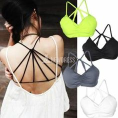 63054b59fa0 New Fashion Sexy Women Unique Cross Strap Tank Padded Cup Top Casual Vest