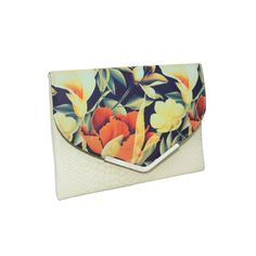 Fold Over oversize clutch bag with Original Wowbag Arum Print in black, orange and cream. Oversized Clutch, Clutch Bag, Continental Wallet, Fashion Forward, Ivory, Range, Leather, Beautiful, In Trend