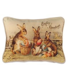 Old Fashion Victorian Bunnies with Easter Eggs Pillow