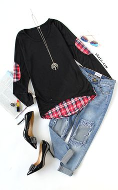 Stylish casual look with Black Contrast Plaid T-Shirt & ripped jeans.