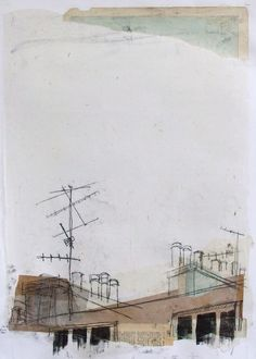 Chimneys with Map Sky, Edinburgh Collage with Maps and Monoprint, 2013 SOLD