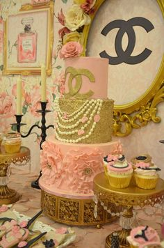 Incredible cake at a Chanel engagement party! See more party planning ideas at CatchMyParty.com!