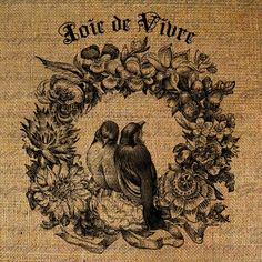 Bird Wreath Birds Joie de Vivre French Text Digital by Graphique, $1.00