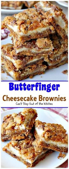These have a chocolate chip cookie dough made with Butterfinger Baking Bits instead. Topped with cheesecake layer & more cookie dough & Butterfingers.