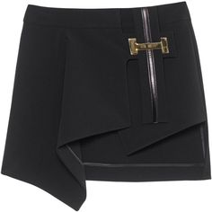 ANTHONY VACCARELLO Asym Buckle Black // Mini skirt with buckle detail ($1,570) ❤ liked on Polyvore featuring skirts, mini skirts, short mini skirts, mini skirt, asymmetrical short skirt, asymmetrical mini skirt and short skirts