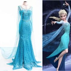 Fairy Princess ELSA Women Gown Fancy Party Dress Costume For Adult Lady free shipping
