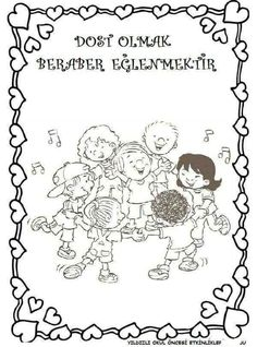 DEĞERLER EĞİTİMİ DOSTLUK Mandala, Preschool, Cross Stitch, Diagram, Words, Children, Pictures, Sketches, Moldings