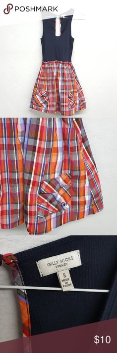 "Gilly Hicks Sydney Plaid Skater tank Dress Cute Gilly Hicks Sydney dress. Top is tank style with open back, closes with button, lined in multi colored plaid.  Skirt portion is plaid with blue, red, orange, pockets and features stretchy waist.  As I was listing, I noticed a tiny tear - (see last photo) Priced accordingly. Probably an easy fix for someone with sewing skills. Length 29"" long Bust approx 11.5"" Gilly Hicks Dresses Mini"