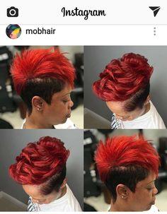 Short Permed Hair, Short Sassy Hair, Medium Short Hair, Cute Hairstyles For Short Hair, Diy Hairstyles, Short Hair Cuts, Short Hair Styles, Mohawk Styles, Black Hairstyles