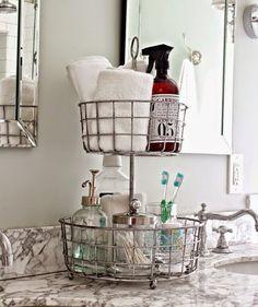 """Fruteiras podem servir para """"desafogar"""" a pia do banheiro e armazenar itens…"""
