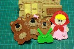 пальчиковые игрушки из фетра. Маша и медведи