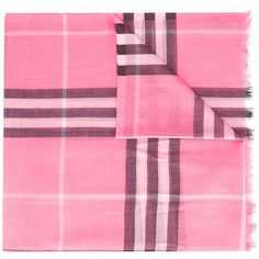 Burberry house check scarf ($275) ❤ liked on Polyvore featuring accessories, scarves, pink, burberry shawl, pink shawl, patterned scarves, burberry and checkered scarves