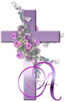 Alfabeto de cruces y flores.
