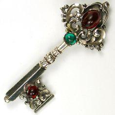 Trifari 'Alfred Philippe' Silver Scrolls and Cabochons Key Pin | eBay
